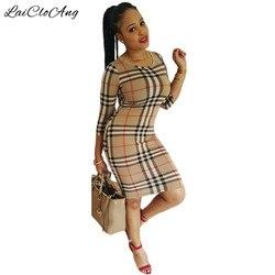 New arrivals plaid print sheath dress elegant casual o neck three quarter sleeve women bodycon dress.jpg 250x250
