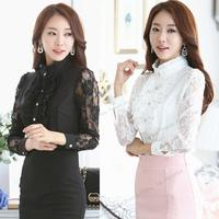 2015 Women Long Sleeve Lace Floral Chiffon Casual Tops High Neck Blouse Shirt