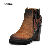 Artdiya Original 2018 autumn new retro waterproof thick heels genuine leather boots high heels fashion women's boots ankle boots