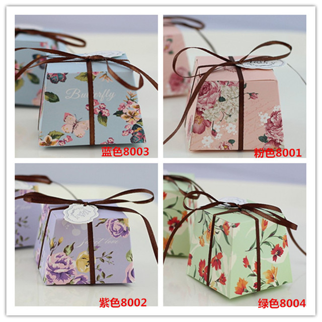 50pcs Floral Trapezoid Wedding Favor Boxes Candy Box Casamento Favors Baby Shower Gifts