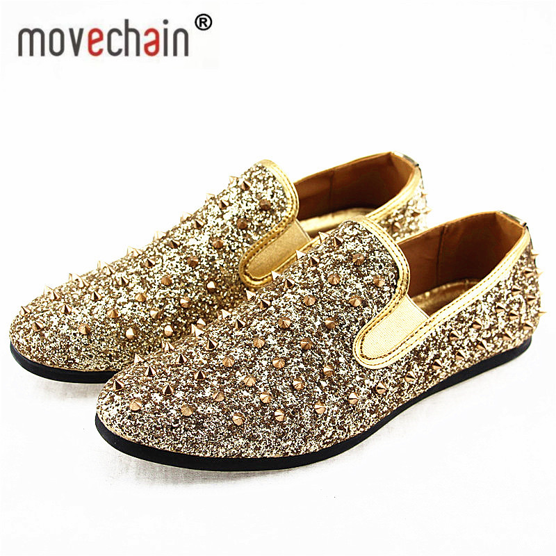 9286de0dd077 Movechain Men s Wedding Party Shoes Fashion Spikes Man Loafers Rivets  Glitter Casual Driving Shoes Mens Flats