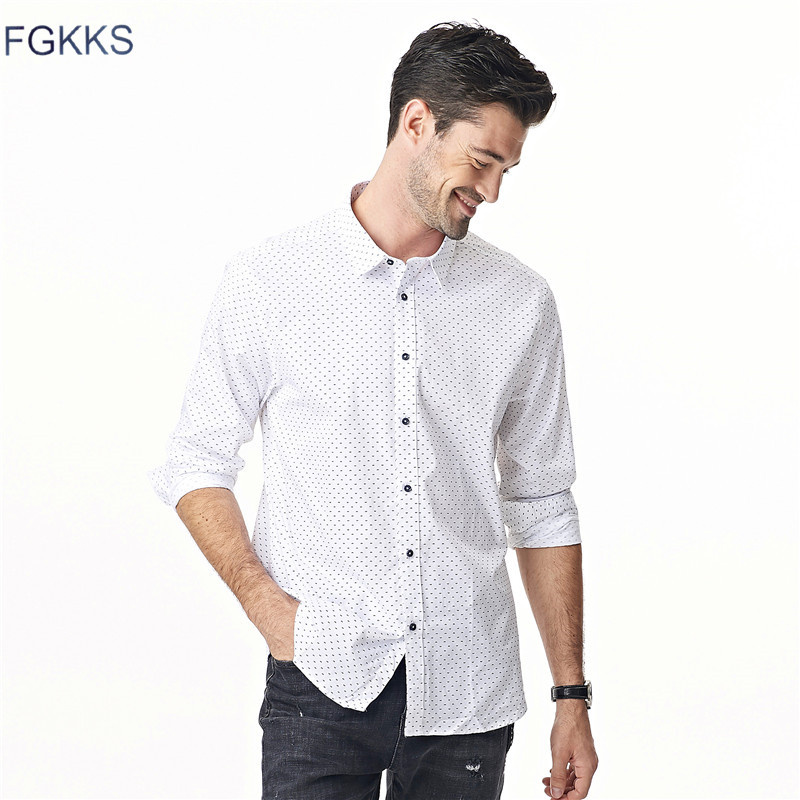 FGKKS 2018 Fashion Mens Dress Shirts Spring New Cotton Long Sleeve Business Men Shirt Slim Polka Dot Shirts