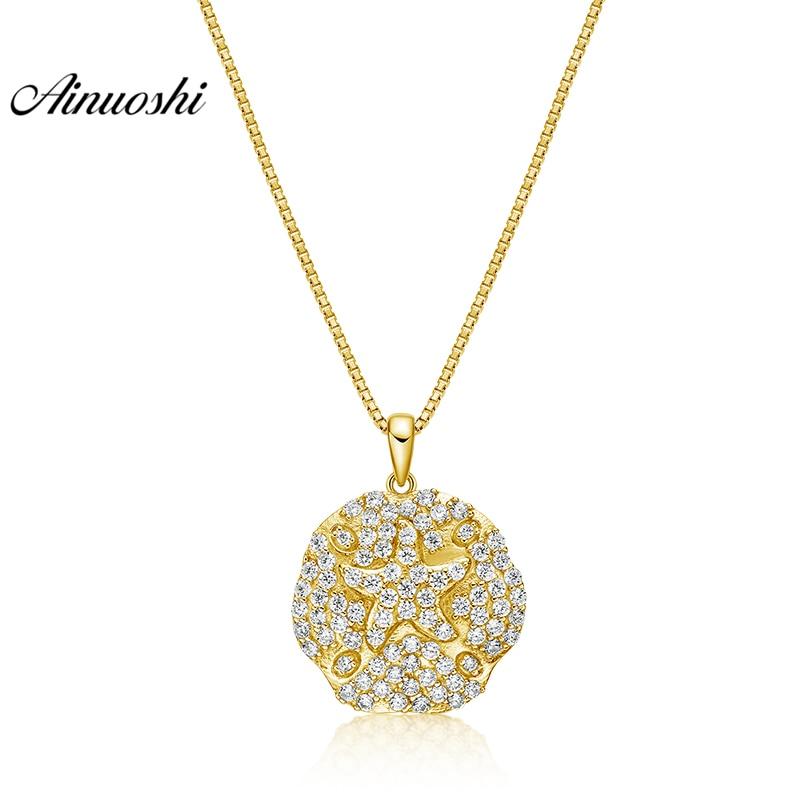 AINUOSHI 10K Solid Yellow Gold Pendant Round Pendant SONA Diamond Women Men Children Jewelry Shining Starfish Separate Pendant