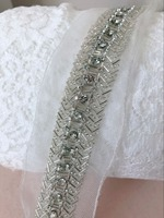Hot New Silver Beaded Lace Trim, 5cm Pearl Lace Trim On Mesh, Rhinestone Chain Trim For Bridal Sash, Costume Design