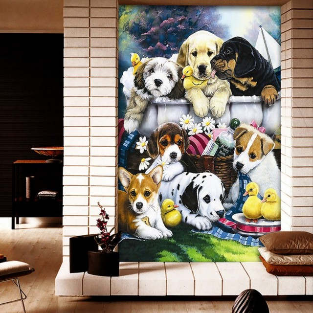 Custom Photo Wallpaper Warm Lovely Puppy Oil Painting Entrance