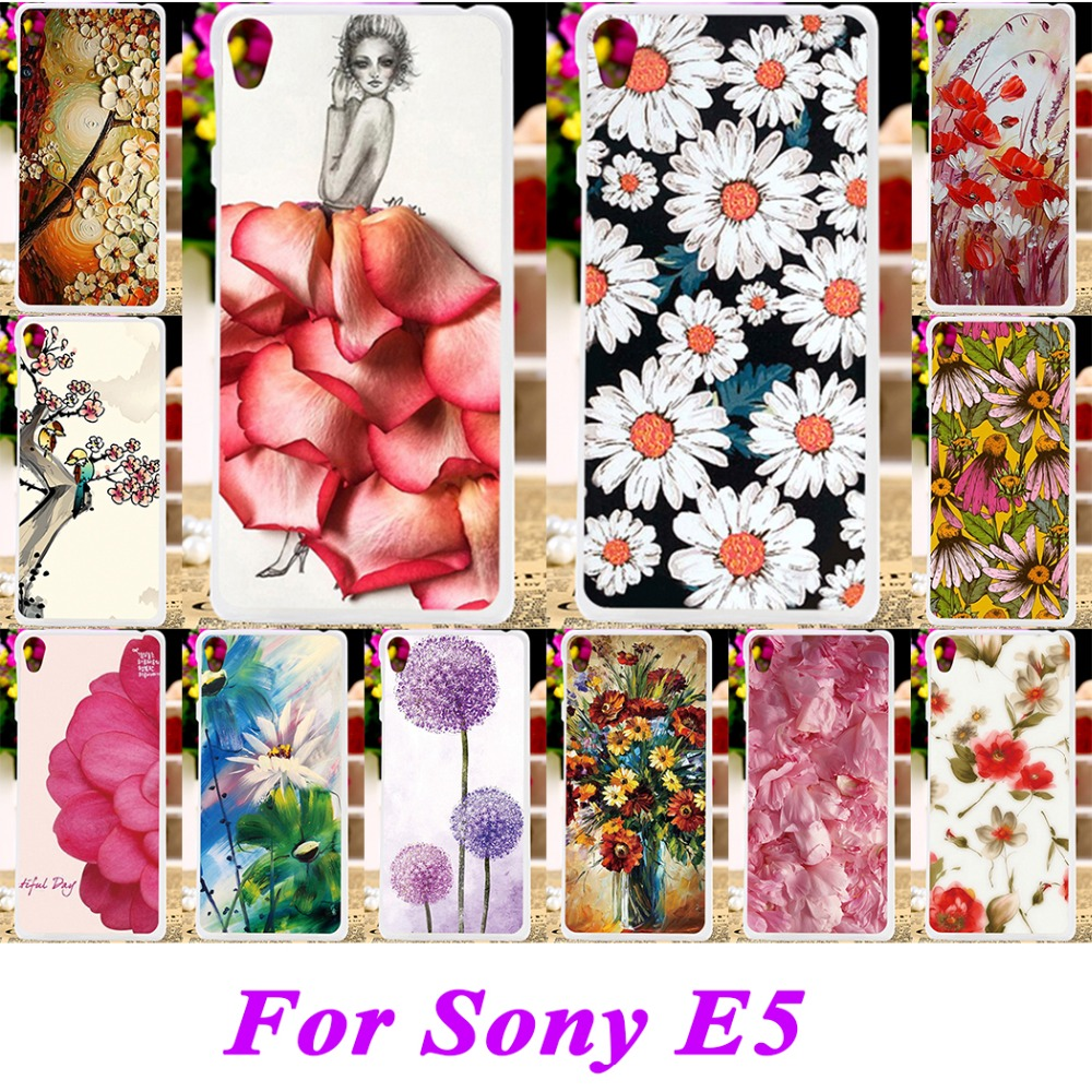 Soft Silicon TPU & Plastic Phone Covers Cases For Sony Xperia E5 F3311 F3313 Cases Rose leaf Protective Bags Painted back cover