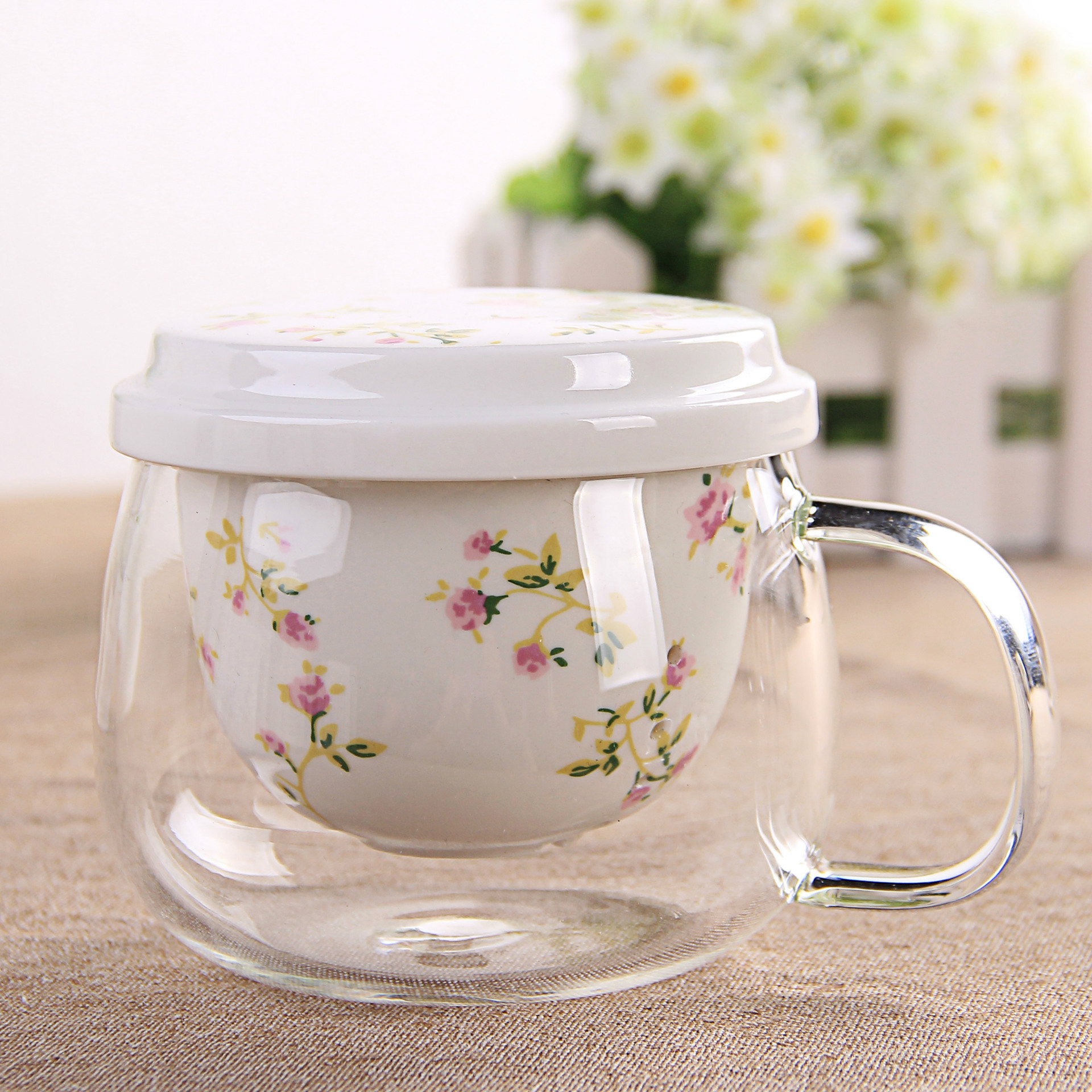 Creative Tea Cup Ceramic Filter Liner Thick Glass Cup with Lid Small Fresh Tea Cup