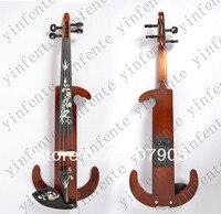 Nuevo 4/4 cinco cuerdas violín Eléctrico patente silent conchas con incrustaciones de aves