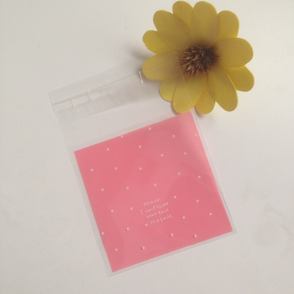 7*7cm 100 PCS pink candy bags cookie packaging bag wedding party ...