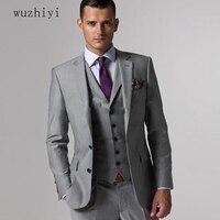 Wuzhiyi Жених костюм ternos masculino стройная фигура заказ серый костюм людей, мужской костюм серый свадьбы жених от мужские