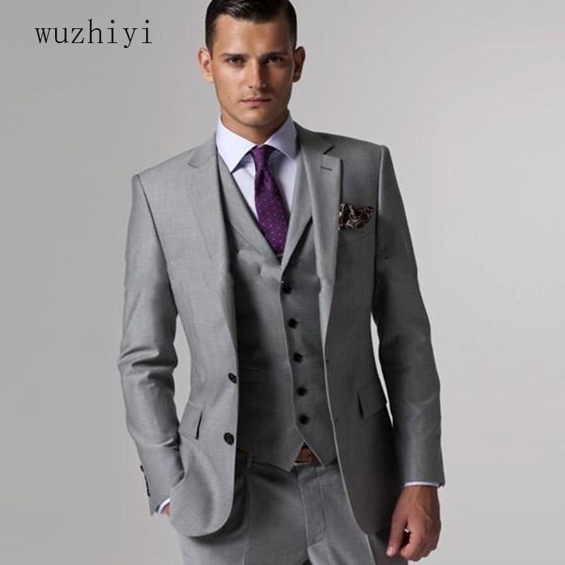 Wuzhiyi sposo vestito ternos masculino slim fit su misura Grigio vestito degli uomini, vestito terno masculino Grigio da sposa Sposo da uomo