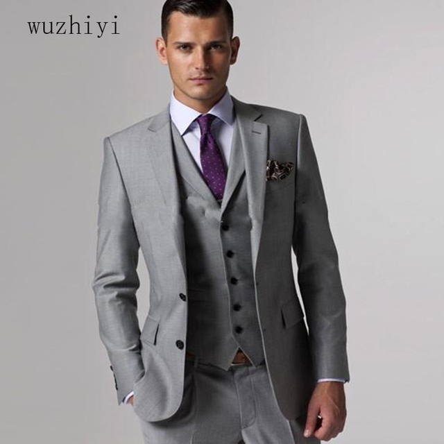 wuzhiyi bridegroom suit ternos masculino slim fit Custom made Grey ...