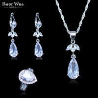 Russian Love Style Water Drop White Australia Crystal 925 Stamp Silver Color Women Jewelry Set Earrings