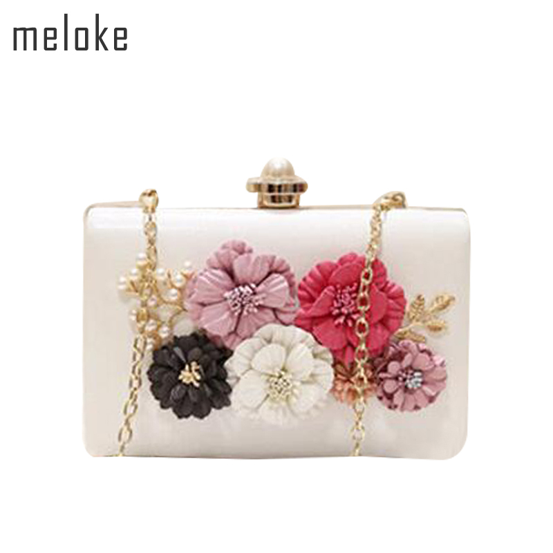 Meloke 2018 high quality women handmade flowers clutch wallets wedding dinner bags with chain party bags for girls MN559