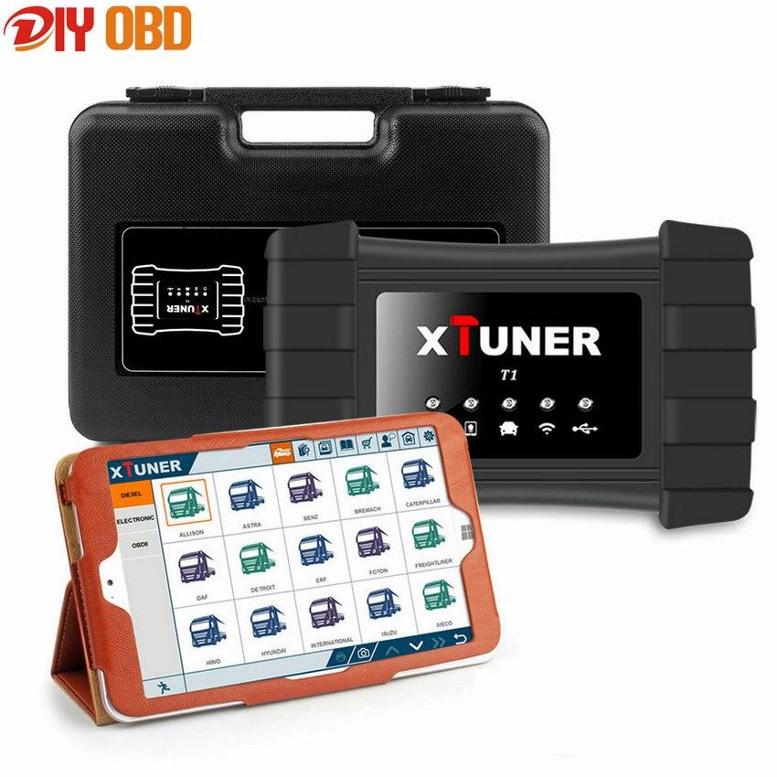 Prix pour Haute Qualité Heavy Duty Truck Diagnostic Scanner Xtuner T1 Wifi Diesel Moteur De Diagnostic Outils + Win10 tablet Scanner Automobile
