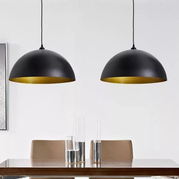 2Pcs vidaXL Ceiling Light Lamp Hemispherical Metal Pendant Light Modern Suspension Lamp Home Bar Store Lighting Engineering