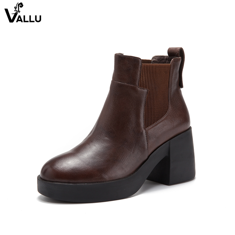 Elastic Band Booties For Women Block Heel Shoes Original Leather Round Toe Female Ankle Boots Comfortable Lady Short Shoes fashionable casual stripe knitted elastic socks ankle boots flat comfortable wool short boots shoes women female booties