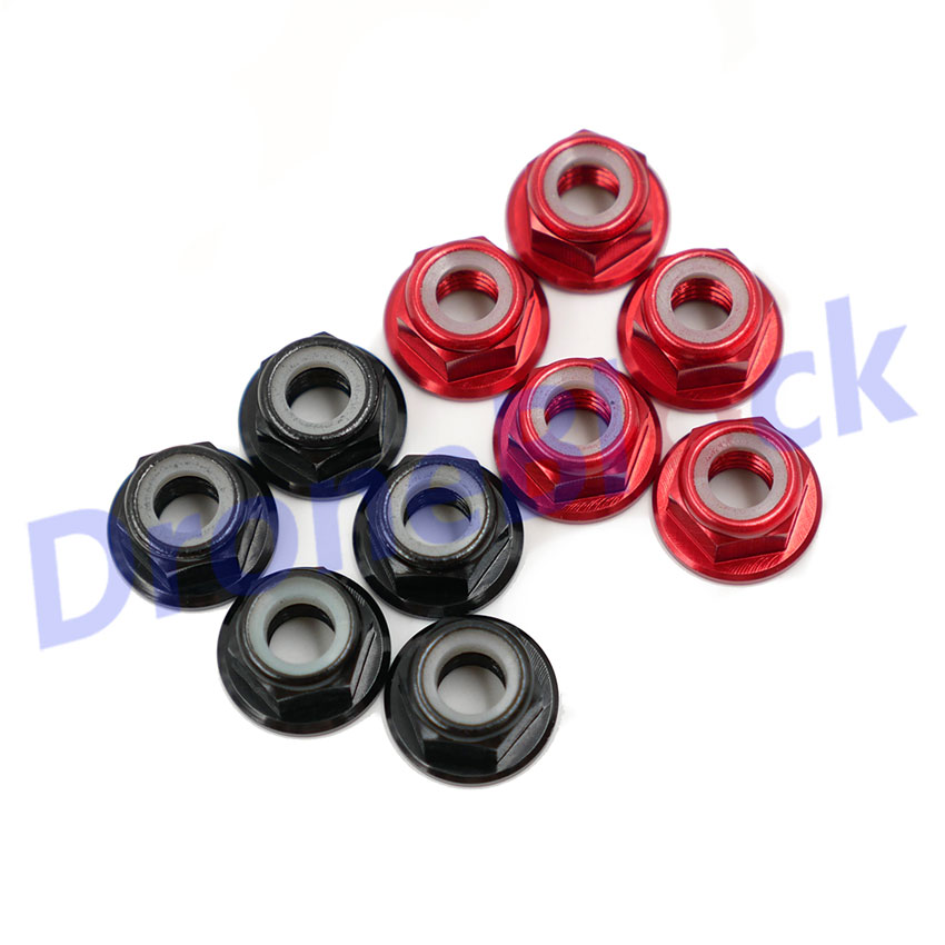 10 Pcs M5 Aluminum Flange Nylon Nut Low Profile CW CCW Anti-Loose Insert Lock For 2204 2205 2206 Brushless Motor RC QAV250 210