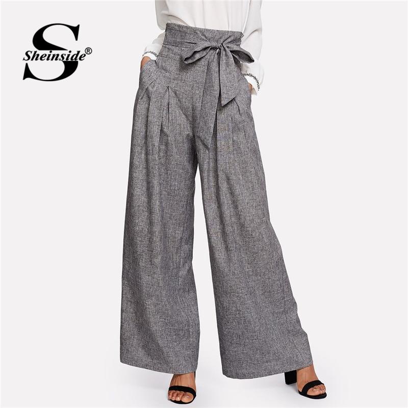 Sheinside High Waist Self Belted Box Pleated Palazzo Pants Women's Pants