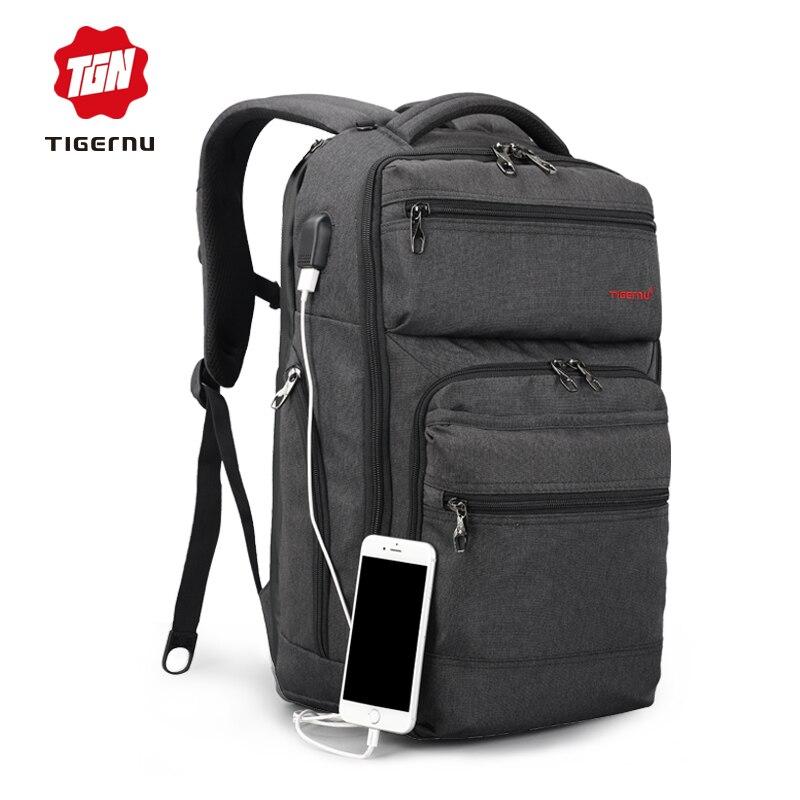 Tigernu Brand 15 6inch USB charging Men Backpack Women Anti theft Laptop Backpack Splashproof Large School