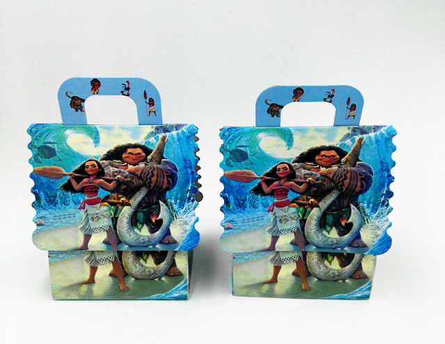 6pcs Lot Moana Hand Bags Candy Boxes Gift Paper Happy Birthday Party