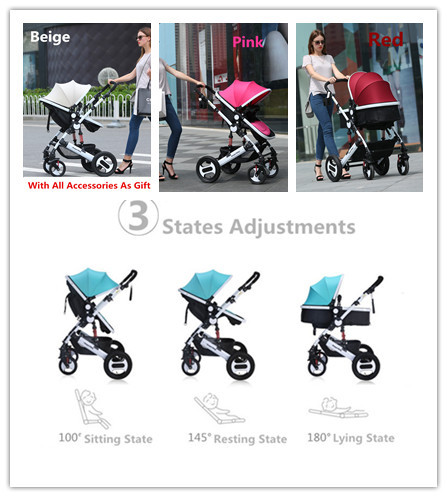 2015 New Arrival Baby Pram 2 In 1 With All Accessories Kids Car Trolley 3 States Canopy For 0-4 Years Children 4 Colors Optional
