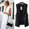 New 2017  Summer Women Casual Basic Solid Vest coat Lady Casual sleeveless blazer