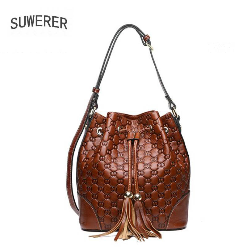 SUWERER 2019 New Genuine Leather women bag quality luxury real Cowhide famous brand fashion Embossing crossbody bags for women
