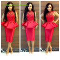 Nueva Red Vestidos cóctel con manga larga escarpada del cordón mujeres árabe Dubai 2016 Vestidos De Fiesta satén De cuello alto del partido De baile vestido