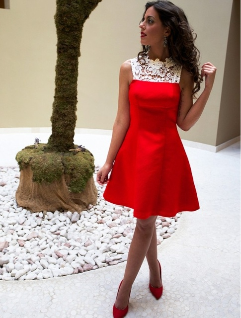 Cute Red Short Satin Homecoming Dresses With Lace 2017 A Line Jewel
