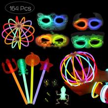 164Pcs Multi-color Durable Flexible Glow Sticks Fluorescent Sticks Headbands Bracelet Necklaces Set for Halloween(China)