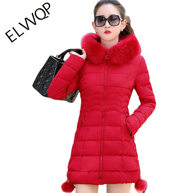 womens winter jackets and coats 2018   Parkas   for women 5 Colors Wadded Jackets warm Outwear Hooded Large Faux Fur Collar LU023