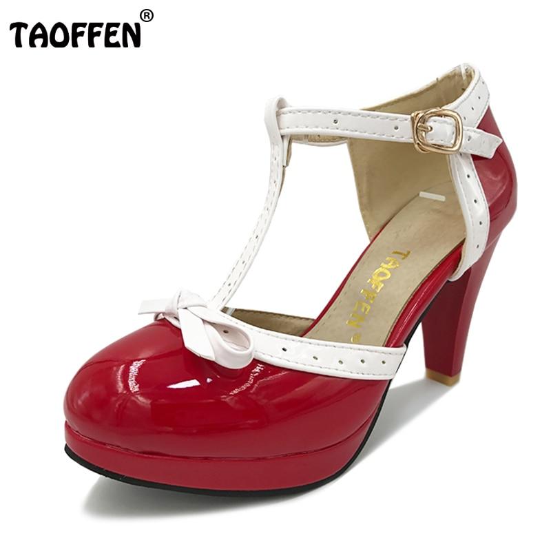TAOFFEN Size 32 48 font b Women b font High Heel Sandals Round Toe Square Heels