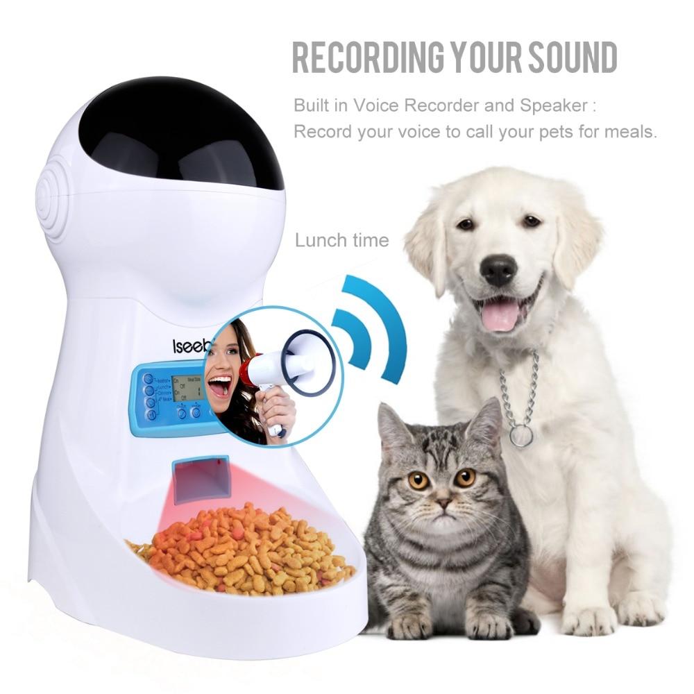 Iseebiz 3L Automatic Pet Food Feeder Voice Recording LCD Screen Bowl For Medium Small Dog Cat