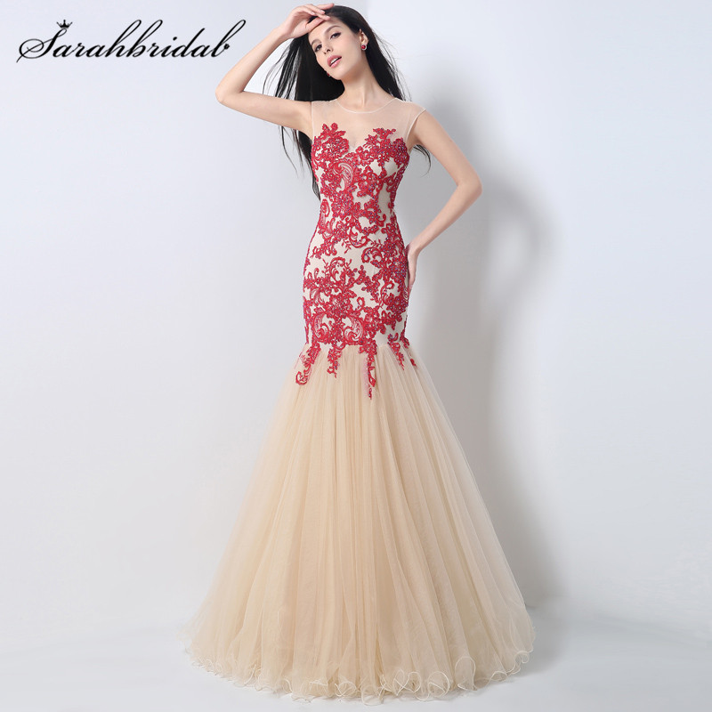 Luxury Beaded Champagne Tulle Evening dresses mermaid Beautiful Color Long Prom Dresses Vestidos de noche largos blanco JS001