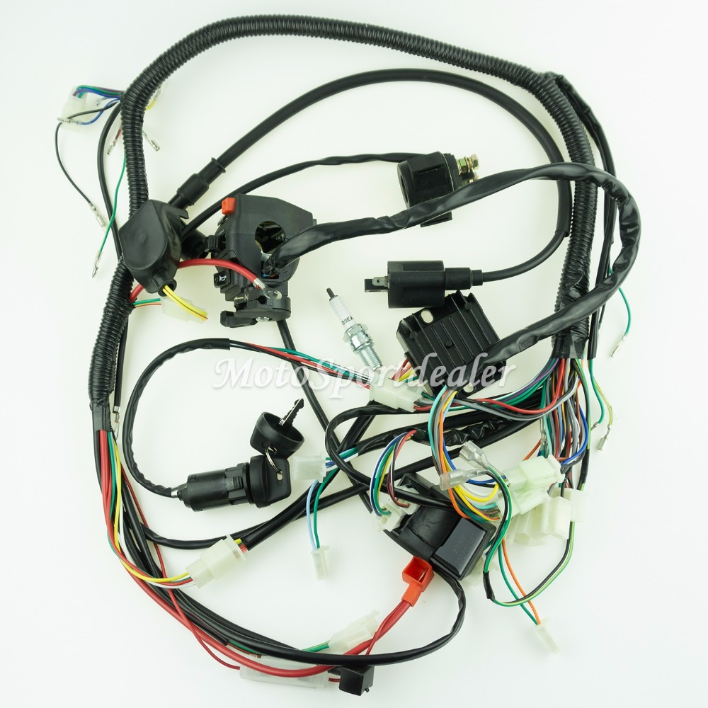 new full wiring harness loom ignition coil cdi for 150cc 200cc 250cc 300cc lifan zongshen atv [ 1000 x 1000 Pixel ]