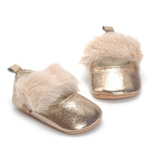 Spring Autumn Baby Infant Fur Soft Bottom Toddler Princess Sole  Flat Shoes New Champagne Gold