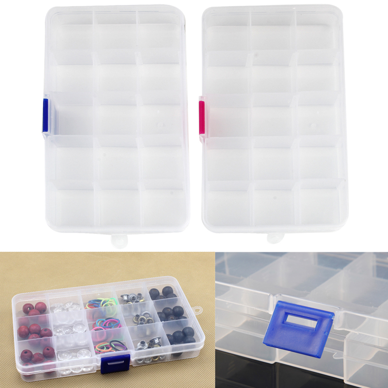 15 Grids Adjustable Jewelry Box Rings Earrings Necklaces Makeup Holder Case Organizer Women Jewelery Storage Dropshipping