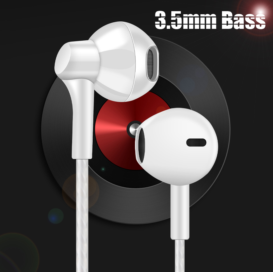 3.5mm Plug Universal Bass Wired Earphone Music Headset Game Earbuds Hifi Wire Earphones Cable for iPhone Samsung Xiaomi Phone
