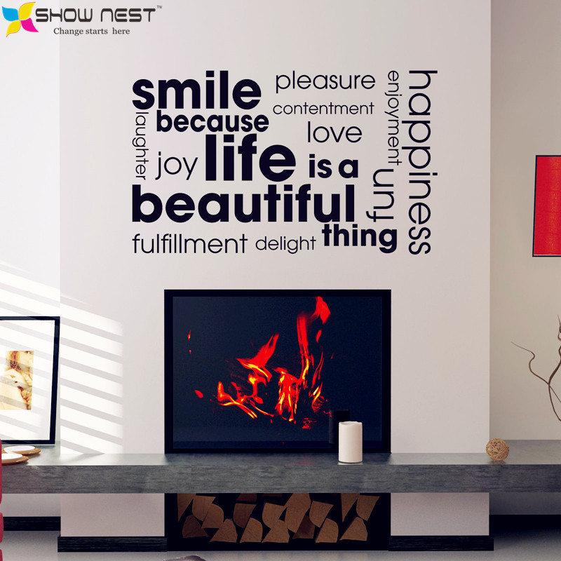 Smile Quotes Cloud Montage Wall Stickers Home Decor Inspirational Life Qutoes Wallpaper Living