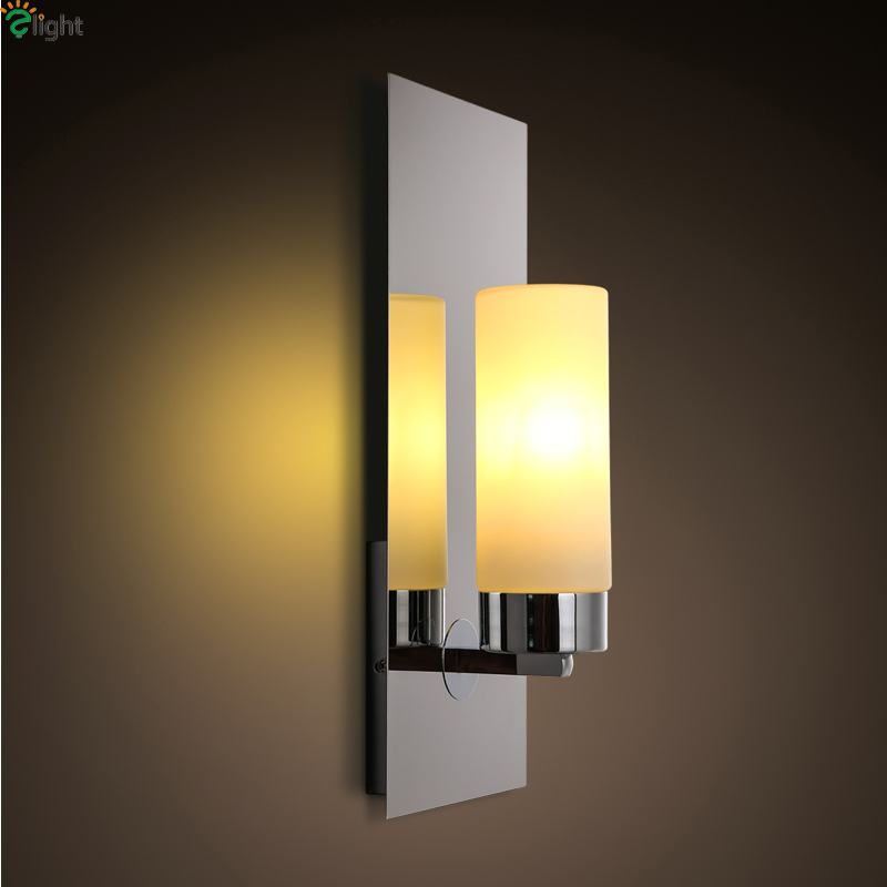 Modern Chrome Metal Led Wall Lamp Lustre Glass Bedroom Led Wall Lights Led Wall Lighting Light Loft Luminaria Fixtures Lamparas 2 lights modern creative metal wall light simple glass shade wall sconces fixtures lighting for hallway bedroom bedside wl282 2