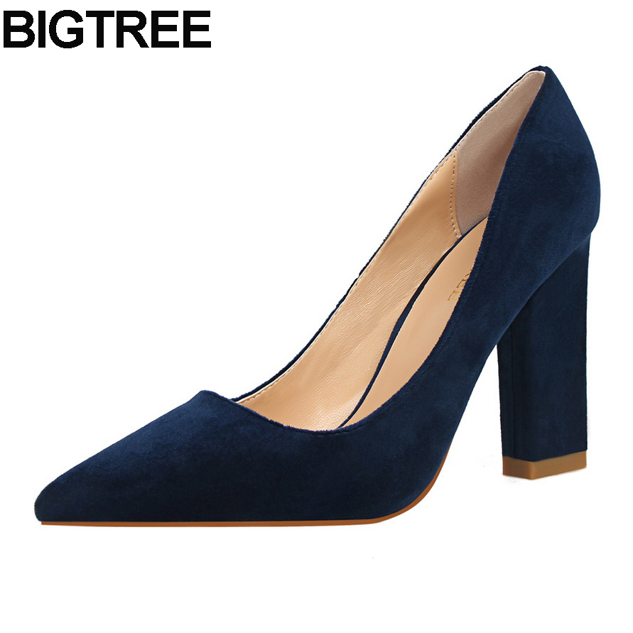 BIGTREE women solid color pumps thick square high heels woman flock slip on work office lady dress casual single shoes fashion new fashion women casual shoes women sandals 2016 thick high square heels sandals black flock pumps