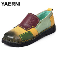 YAERNI Fashion Women Shoes Genuine Leather Loafers Women Mixed Colors Casual Shoes Handmade Soft Comfortable Shoes