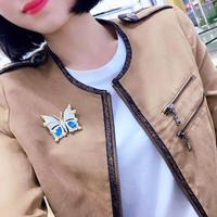 Autumn And Winter New Butterfly Brooch S925 silver Plated White Gold With Blue Zircon Pin Brooch Masculinity Elegant