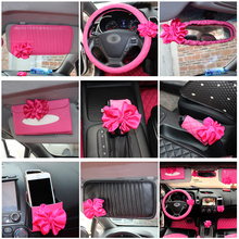 Car Interior Accessories Pink Roseo Red Flower Steering Wheel Cover Neck Rest Pillow Seatbelt Cover Shifter
