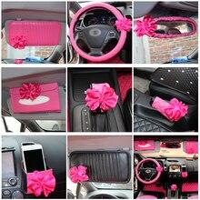 Accessori Per Interni auto Rosa Roseo Fiore Rosso Volante Copertura Della Ruota di Resto del Collo Cuscino Cintura di Sicurezza Della Copertura del Cambio del Freno A Mano Set