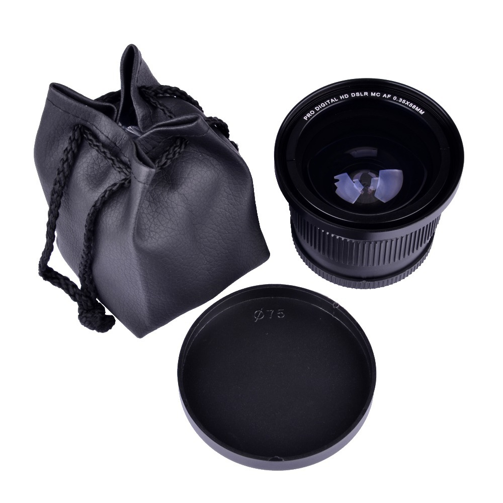 HD 0.35x58mm Fisheye Macro Grand Angle Lentille de la Caméra pour 58 MM Canon Rebel T3i T3 T2i T1i T2 T3 700D 650D 600D 550D 500D 1100D1000D