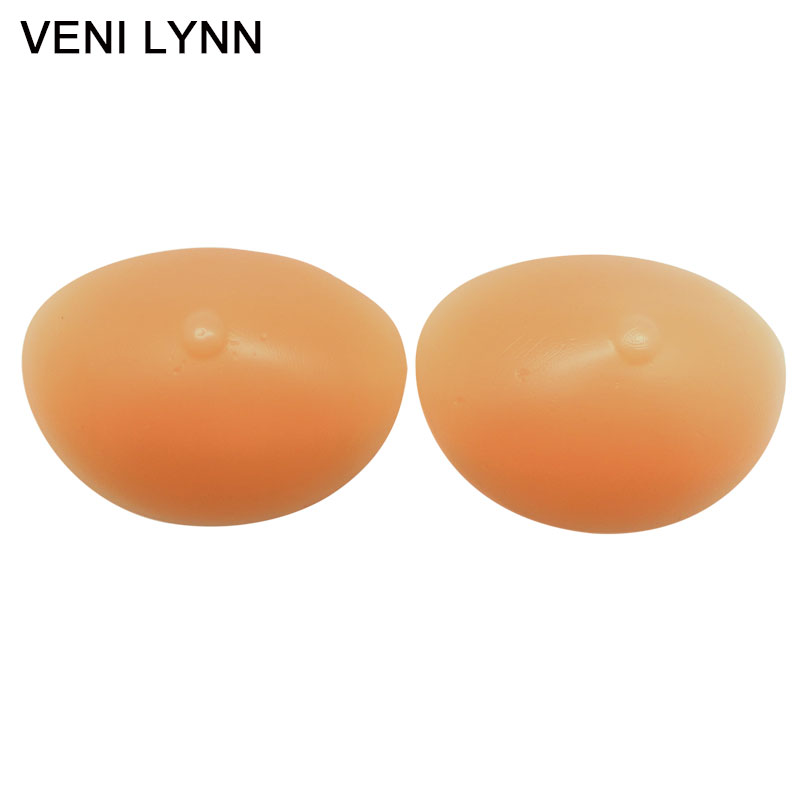 VENI LYNN 265g/Pair Soft Silicone Breast Forms Beige Bra Inserts Bust Enhancers With Nipple Feel Like Real Breasts