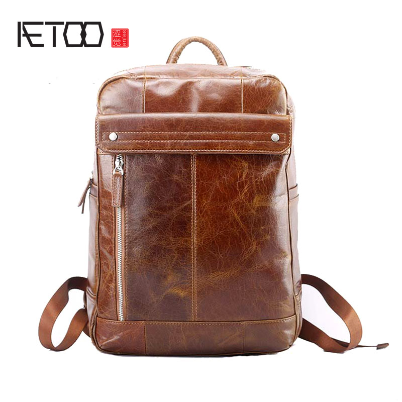 AETOO New leather men's shoulder bag Korean fashion travel first layer leather men bag backpack aetoo spring and summer new leather handmade handmade first layer of planted tanned leather retro bag backpack bag