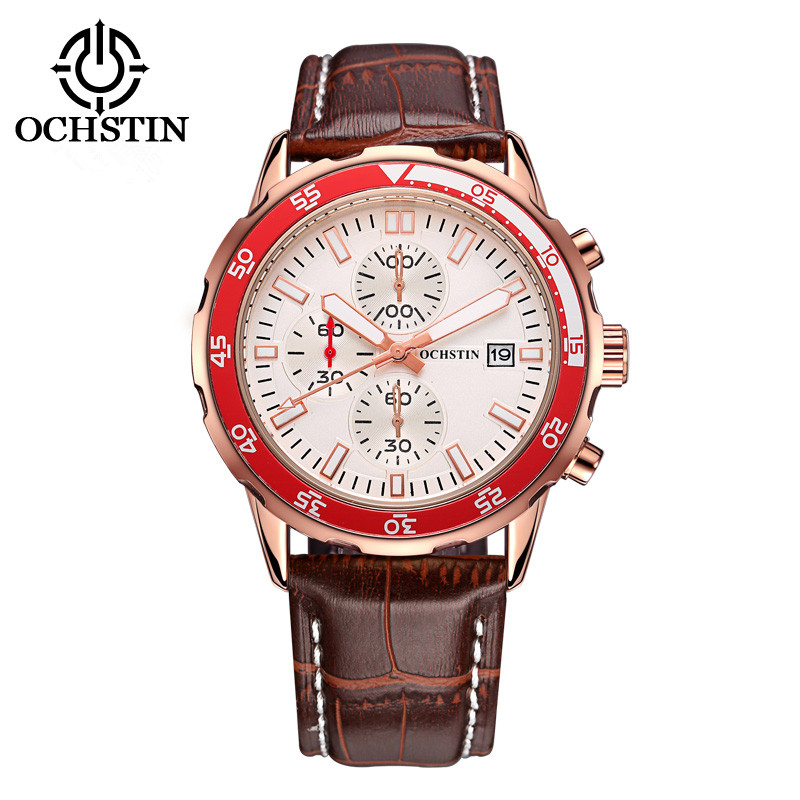 OCHSTIN Men sport leather Watch 30M Waterproof Luxury Brand Chronograph Quartz Watches Relogio masculino Clock male Wristwatch fashion luxury waterproof analog men sport watch chronograph mens leather watches male clock quartz wristwatch relogio masculino